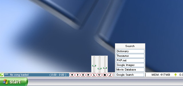 Customizable appbar on which various components such as system info can be put.